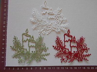 Die Cuts - Christmas Candles, Pine Branches, Holly, Embellishments x 3