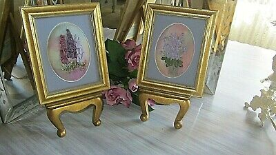 Pair Wood Gold Gilt  Frames with hand made Embroidered Ribbon Roses (Set of 2)