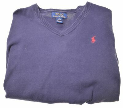 POLO RALPH LAUREN Boys Jumper Sweater 14-15 Years Large Blue Cotton  FF08
