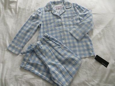 BNWT Girls M&S Autograph Traditional Blue & White Checked Pyjamas Age 7-8 yrs