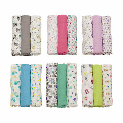 Super Soft Muslin Squares 3 Pack Baby Newborn Swaddle Nappies