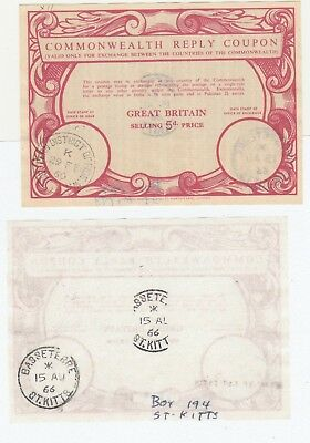 ( International ) Commonwealth Reply Coupon GB  UK to Basseterre St Kitts 1966