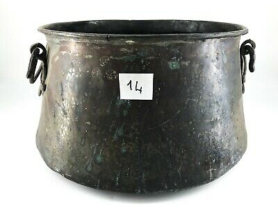 Large Cauldron Copper with Handles Brass Kitchen Beginning 900 for Furniture 14