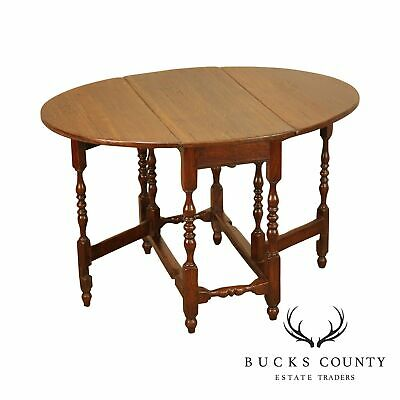 Antique 18th Century English Oak Drop Leaf Gate Table with Drawer