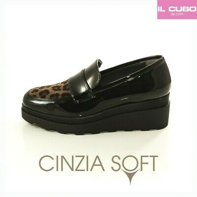 Cinzia Soft Scarpa Donna Mocassino Colore Nero Zeppa H 4 Cm New Collection
