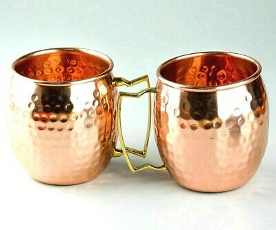 2 Moscow Mule Copper Mugs Brass Handle Handmade Hammered Cup for Beer Drinks