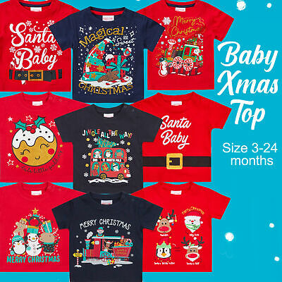 Unisex Baby Girls Boys Newborn Cotton Christmas T-shirt Xmas Novelty 3-24 Months