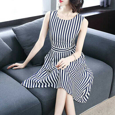 A Line Fashion Simple Women Dress Striped Pattern Mid-calf Sleeveless Stylish
