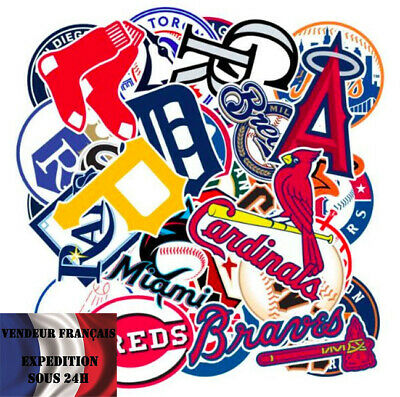Lot de 30 autocollants stickers MLB / FRANCHISES BASEBALL