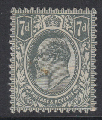 SG 305 7d Pale Grey M38 (3) average mounted mint condition with tone spot noted.