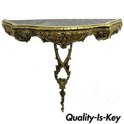 Vtg French Louis XV Rococo Style Small Brass Marble Top Wall Mount Console Table