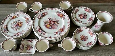 "Masons Ironstone "" Fruit Basket "" Red Dinner Plates Saucers Tea Cups Vase"