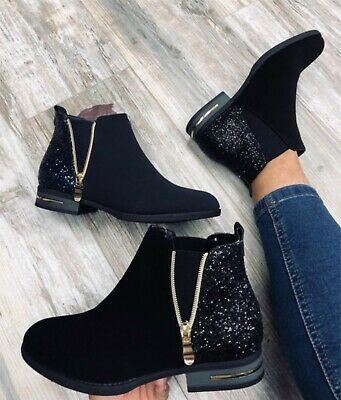 Ladies Womens Glitter Low Heel Flat Casual Chelsea Ankle Boots Shoes Size