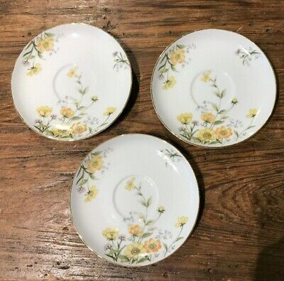 Vintage Norleans China Made In Japan Allegro Set/Lot Of 3  Saucers Htf