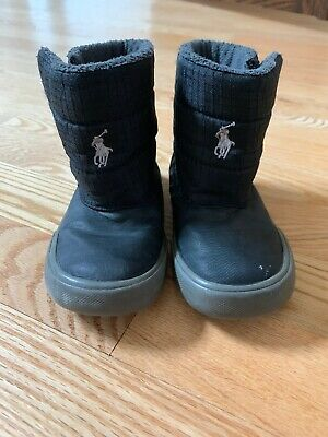 Polo Ralph Lauren Baby Toddler Boots Black Nylon Size 7 Fleece Lined