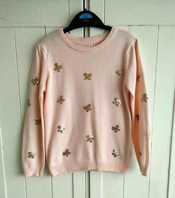 Girls Pale Pink Sweater / Jumper With Gold Sequin Bow Design 6-7 Years