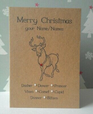 Reindeer Personalised Family Christmas Cards Vintage Rustic Country Chic Kraft