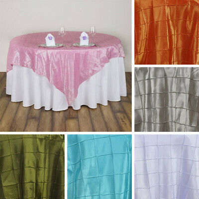 """12 pcs PINTUCK 85x85"""" SQUARE Table OVERLAYS Fine Wedding Party Toppers Linens"""