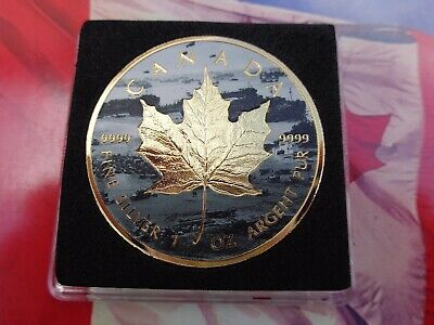 2019 NORMANDY Canadian Incuse Maple Leaf D-Day series 24k gold version