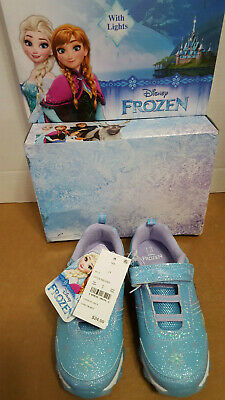 Disney Frozen Girls Blue Sneakers with Lights Two Sizes