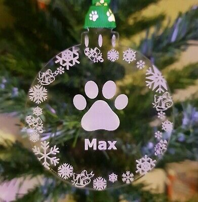 Christmas Tree Bauble for Dog / Cat personalised choice of ribbon Decoration tag