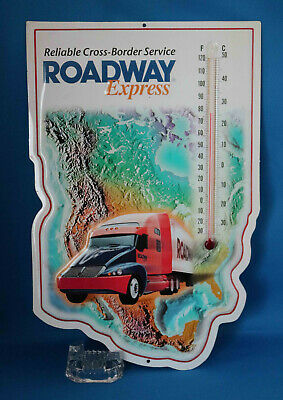 Retro Roadway Express Western U.S. Embossed Tin Map w/Alcohol Thermometer