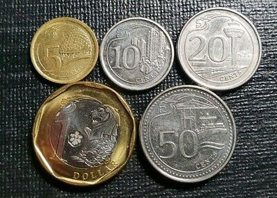 Singapore 5 cent to $1 coins 2012+