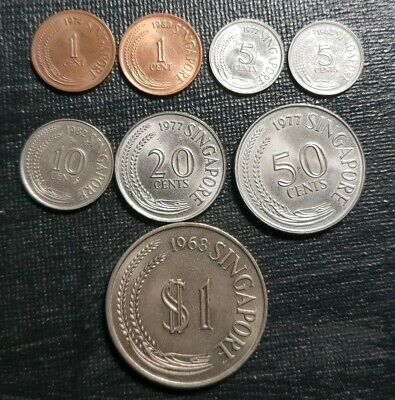 Singapore 1 cent to $1 coins 1967-1985