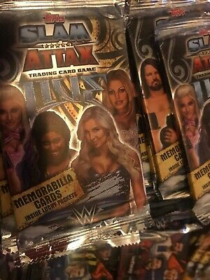 Slam Attax Live Trading Cards 50 Sealed packs With 3 Empty Mini Tins