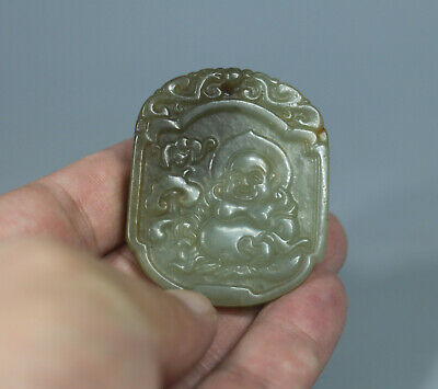 Chinese old green jade carved lucky Fortune buddha figure w words design Pendant