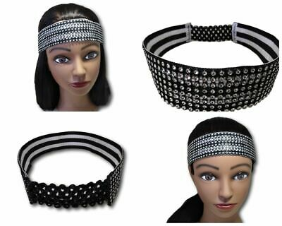 "Bling Mesh Rhinestones Headband Urban Handmade Jeweled Fashion 1.5"" Wide"