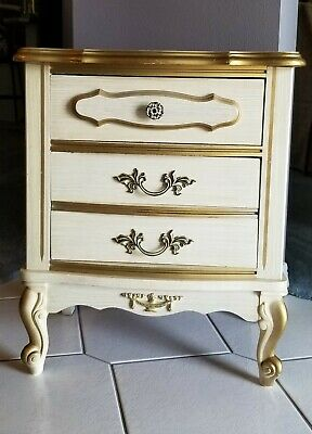 Vintage 1970's 'Princess' French Provincial 2 Drawer Bedside Table / Nightstand