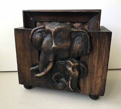 6pc Vintage Classic Thai Elephant Carved Wooden & Straw Mat Coasters & Holder