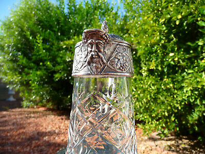 Ornate Crystal Claret Jug With Silver Plated Mount and Bacchus Face Mask Spout