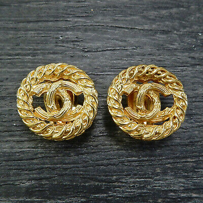 CHANEL Gold Plated CC Logos Vintage Round Clip Earrings #5013a Rise-on