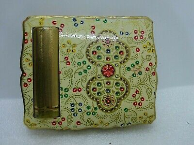 Vintage Stratton Compact Case with Lip Stick Holder Gold Tone Enamel Design