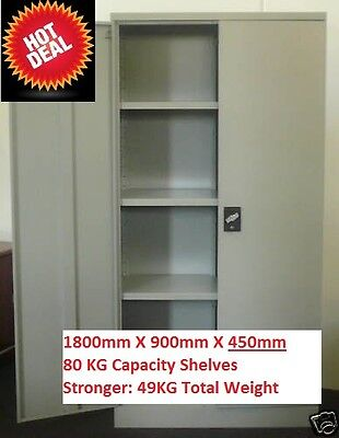 STEEL STORAGE STATIONARY FILING GARAGE CUPBOARD CABINET 1800mm High