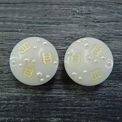 CHANEL Gold Plated Plastic CC Logos White Vintage Round Earrings #5024a Rise-on
