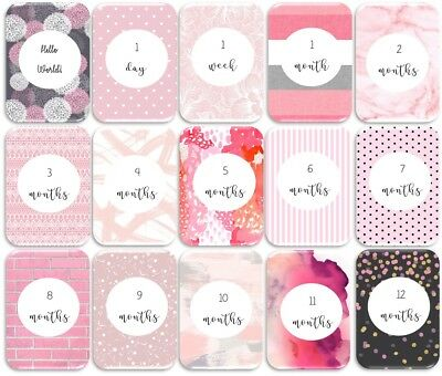 Shades of Pink Baby Age Milestone Cards. Pack of 15. Baby Shower Gift. Baby Girl