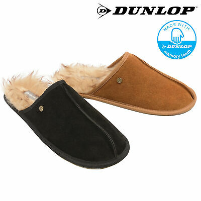 Dunlop Mens Slippers Slip On Mules Fur Lined Suede Leather Memory Foam Size 7-12