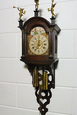 Dutch Wall Clock Old Clock Vintage Wooden Clock (Schippertje)