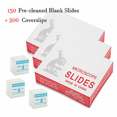 SWIFT Professional 150 Pre-cleaned Blank Glass Microscope Slides+ 300 Coverslips