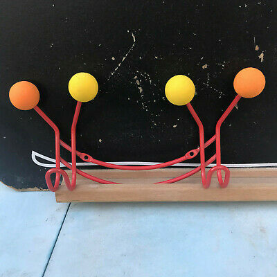 Small Atomic Style Coat Hook Red Orange