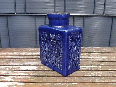 Vase Tischvase 60er Fat Lava blau Flaschenvase West - Germany Keramik