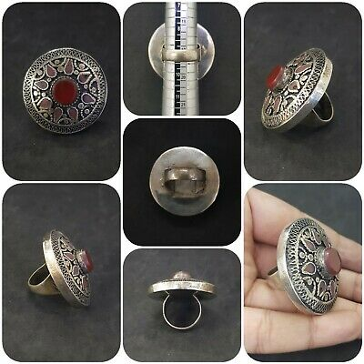 Beautiful Afghan Silver Plated Ring with Stunning Red Agate Stone # UI9