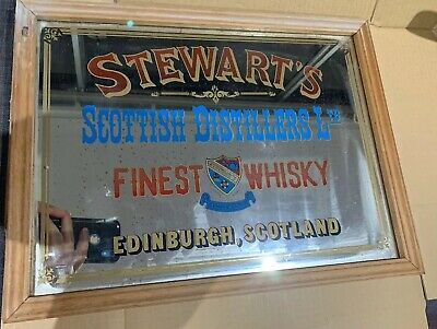 Rare STEWART's (Edinburgh SCOTLAND) SCOTCH WHISKY Pub Mirror (2-76)