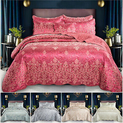 3 Piece Luxury Quilted Bedspread Throw King & Double Size Comforter Bedding Set