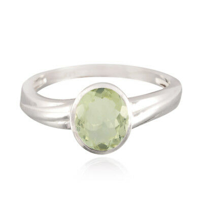 Natural Gemstones Oval Faceted Green Amethyst ring 925 Silver gift for cyber US