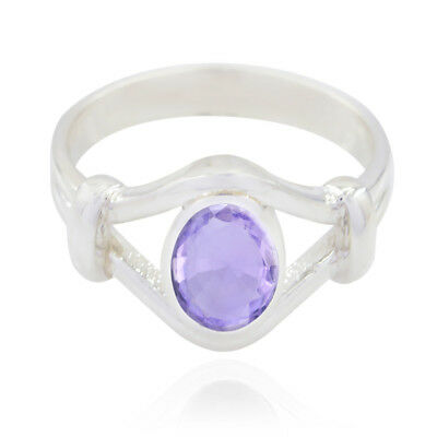 Real Gemstones Oval Faceted Amethyst ring - Solid Silver Purple Amethyst us