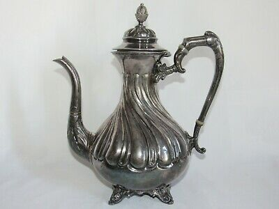02F12 Antique Jug Coffee Coffee Maker Metal Silver Decoration Rockery Xixth